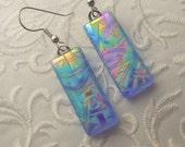 Rainbow Earrings - Dichroic Fused Glass Earrings - Fused Glass - Dichroic Glass - Dichroic Jewelry - Etched Glass - Zen - Zentangle 2933