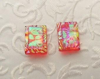Button Earrings - Dichroic Earrings - Stud Earrings - Post Earrings - Small Earrings - Dichroic Fused Glass Earrings - Red Earrings 1241