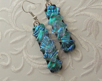 Bohemian Earrings - Boho - Dichroic Fused Glass Earrings - Crystal Earrings - Chandelier Earrings - Prism - Boho - Fused Glass 2156