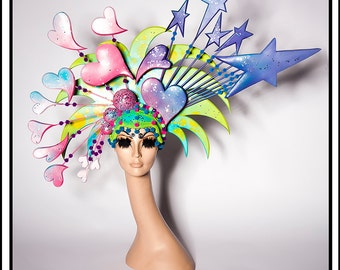 SALE 15 % OFF SALE Totally 80s… Rainbow Headdress Inspired By The 80's, Gem and The Holograms, and Pac Man