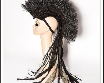 Desert Warrior… Mohawk in Black With Deconstructed Ruffles and Dark Silver Accents Headdress Mad Max