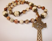 Protestanti or Anglican Rosary, Bronze Celtic Cross, mexican agate with white turquoise