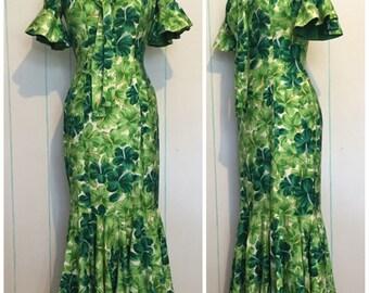 Green Maxi Hawaiin Dress size 6-8