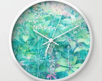 Foliage clock design, turquoise clock, fine art print clock, aqua wall clock, abstract leaf clock, unique blue clock, nature lovers clock