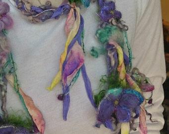 scarf enchanted forest silk fiber art yarn braid lariat garland scarf - flower play