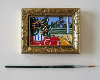 Original acrylic Sunflowers and Eiffel Tower miniture painting, gold frame, blue and red, French Country Decor, Paris apartment, gift idea