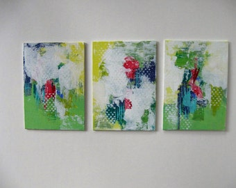 3 small contemporary Abstracts, Original acrylic paintings, 5 x 7 canvas panels, Modern Expressionist, wall decor, textured art, gift idea