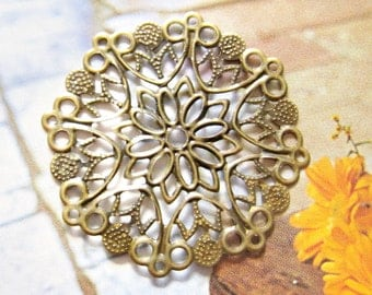 4 pcs Large brass filigree flower cabochon settings , cameo base, charm, pendant