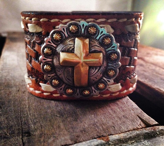 Holy Cowgirl Recycled Vintage Buckstitched Leather Belt Cowgirl 7 Inch Cuff