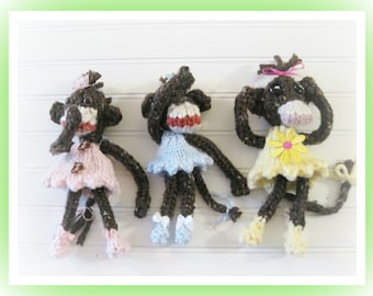 Pattern Knitted Monkey Babies 7 to 8  inch Doll
