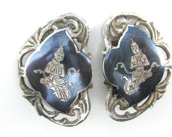Vintage Siam Mekkalah Lightning Godess Sterling Silver Black Enamel Clip on Earrings