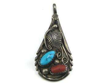 Pendant, Navajo, Sterling Silver, Tear Drop Shape, Turquoise, Red Coral, Sterling Southwest Pendant, Signed D Gordon.