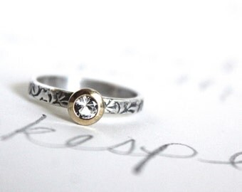 herkimer diamond engagement ring .  unique engagement ring . vine engraved ring by peaces of indigo . made to order by peacesofindigo