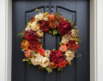 FALL Wreath, Thanksgiving Wreath, Front Door Wreath, Holiday Home Decor, Hydrangea Wreaths, AUTUMN Wreath, Fall Home Decor, Wreaths for Fall
