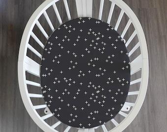 Stokke sheets // Organic Sparkle // Black & White // GOTS certified organic knit // Organic Knit Blanket
