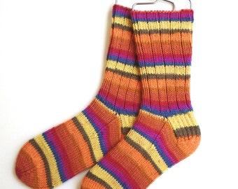 Cashmere Socks Handknit, Merino Socks for Women, Girls, Handknit Socks, DK weight, striped socks, yellow red orange socks, knitted socks