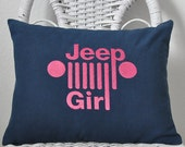 Jeep Pillow Cover for a girl who loves jeeps. Jeep pillow INSERT INCLUDED. Choose your  fabric color.