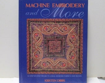 Machine Embroidery Quilting Pattern Book DIY Vintage NeedleCrafts Border Fabrics, Beading Project InstructionsHard Cover Full Color