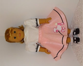 Pink Poodle Skirt with White Blouse, Fits 18 Inch American Girl Dolls
