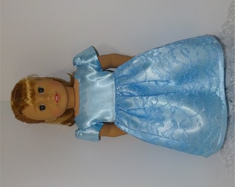 Blue Princess Dress, Fits 18 Inch American Girl Dolls