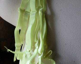 2 CHARTREUSE Bra Straps in Satin Stretch for Lingerie, Costume Design, Retro Dressing
