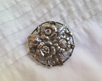 Art Nouveau Brooch Silver Repousse Floral Pin Round