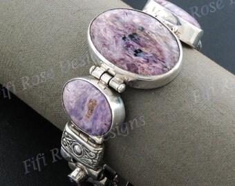 Purple Jasper Amethyst 925 Sterling Silver Bracelet