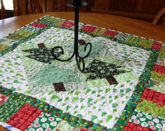 Wintergreen Table Topper, Christmas Table Runner, Christmas Table Topper, Holiday Table Topper, Christmas Trees