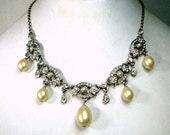 The Princess, A 1990s White Rhinestone Necklace with Pearl Dangles, Adjustable Length Chain, , SPARKLES Galore, Fancy Party, or Wedding Glam