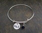 Silver Bangle  Personalized Bracelet -Birthstone Bracelet Love Bracelet - Initial Bracelet -  Adjustable Bracelet - Mother's Bracelet -