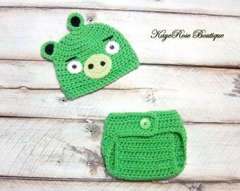 Angry Birds Inspired Newborn to Three Month Old Baby Crochet Hat and Diaper Cover Set Green Pig