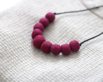 Rondure - Felted Bead Necklace in Ruby/Wine