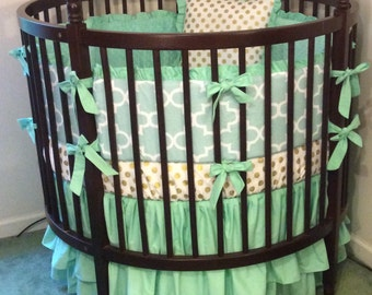Round Crib Bedding Set Mint and Gold Ruffled