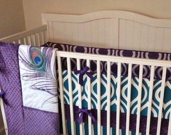 Custom Peacock Baby Girl Crib Bedding MADE TO ORDER