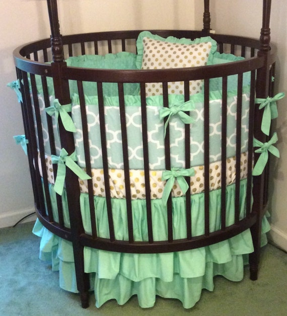 Round Crib Bedding Set Mint and Gold by butterbeansboutique