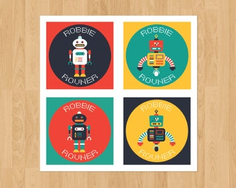 Set of 24 Personalized 2.5x2.5 inch Robot Stickers Labels Contact Cards Gift Tags