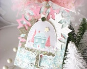 Festive Holiday Snow Globe Village XL Deluxe Christmas Gift Tag~hang tag~Tulle~pink snowflake~gold~blue~white snowflake