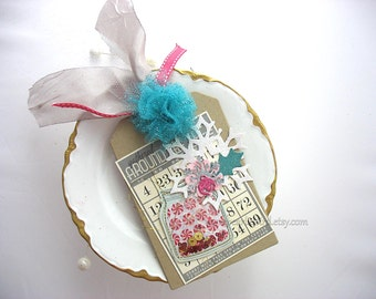 Festive Holiday Candy Jar Bingo Card Snowflake XL Deluxe Christmas Gift Tag or Homemade Card~hang tag~Tulle Pom Pom~pink~blue~grey~gray