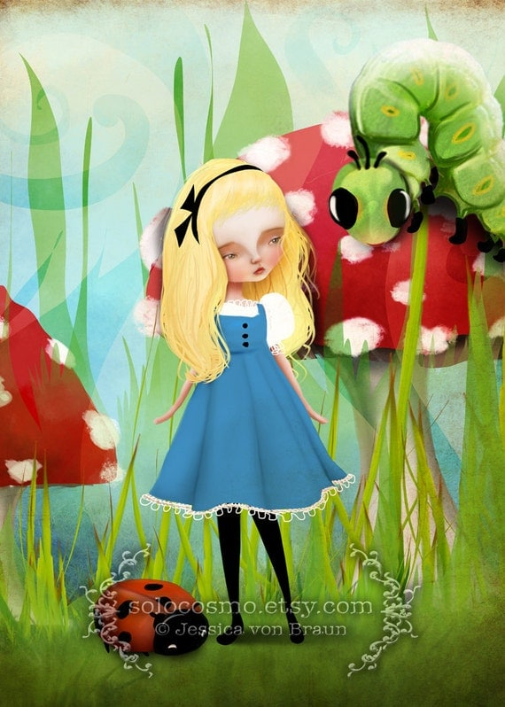 """ACEO/ATC Artists Trading Card - """"Alice and the Caterpillar"""" - Little Girl Artwork - Green Red - print - Alice in Wonderland Themed Artwork"""