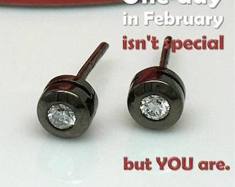 Gift ideas for him, Be My Valentine's gift, special promotion, men's stud earrings, diamond studs, bezel studs,  E500SB