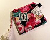 Coin Purse, Padded Zipper Pouch, Roses and Hearts,  Lipstick Case, Card Case, Credit Card Case