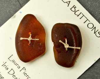 Two large amber brown bottle bottom authentic Maine sea glass buttons beach glass for sweaters shawls kniiting craft