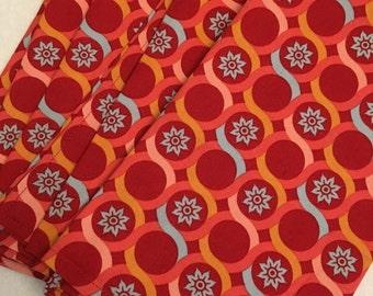 Red and Aqua Swirls Cloth Dinner Napkins set of 4 Eco Friendly Living Dining Reuseable