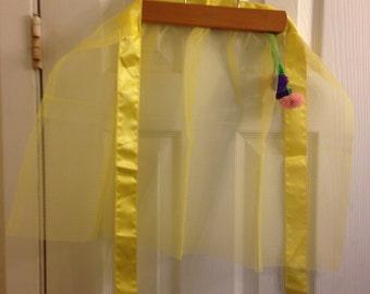 Yellow Nylon Net Apron With Pom Pom Trim
