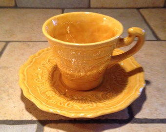 Handmade Mustard Gold Ceramic Cup and Saucer Set