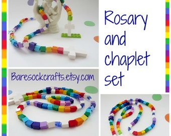 Children Rosary and Chaplet Gift Set Made of Lego Bricks - Rainbow Colorful Kids Rosary and Chaplet - Christmas Gift
