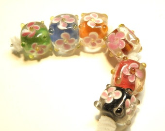 DESTASH -- Six (6) Assorted Colors Cube Beads with Pink Flower Design -- LOT 3X