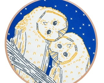 NIGHT OWLS embroidery kit - hand embroidery kit, embroidery pattern, owls, night sky, starry night, bird embroidery hoop art by StudioMME