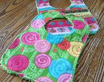 Set of 2 Bright and Beautiful Baby Girl Bibs, Chenille Back, Snap Closure
