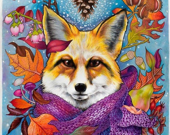Digital print of original illustration 'Autumn fox', A3 size